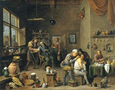 The Surgeon oil painting on canvas by David Teniers the Younger (1610–1690)  This painting illustrates some of the procedures performed by seventeenth century barber surgeons, including bleeding and lancing boils.