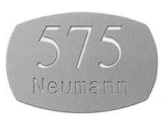 Hochwertige Edelstahl Hausnummer mit Familienname Typ 2 Neutral, Stainless Steel, Shop Signs