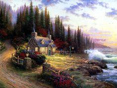 Pine Cove Cottage. by Thomas Kinkade