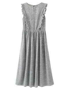 Laser Cut Ruffled Lace Dress - GRAY S