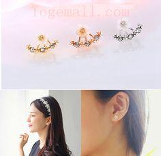 Cute Daisy Flower Crystal Ear Stud Earrings #jewelry #fashion #beauty