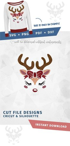 Reindeer face SVG with bow Cricut Silhouette pdf png svg dxf