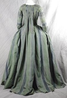 Green and blue striped silk taffeta robe à la Française (back), ca. 1770.