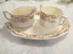 VINTAGE MILDRED CHINA MOUNT CLEMENS POTTERY CREAM AND SUGAR ON TRAY/PLATTER #MOUNTCLEMENSPOTTERY
