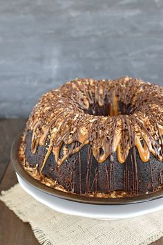 Drizzles of chocolate and caramel make this Chocolate Coconut Cake a fun cake to serve for dessert.