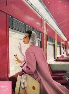 1950s, train travel fashion - we can't quite get over the pink train!