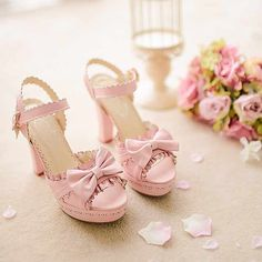 Sweet bowknot hollow out flowers high-heeled sandals Bow Heels, Pink Heels, Shoe Boots, Shoes Sandals, Heeled Sandals, Cute Shoes, Me Too Shoes, Japanese Princess, Fairy Shoes