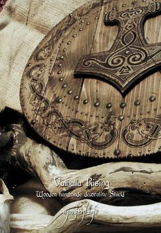 viking shield wood Thor hammer celtic knot work and wood burn.