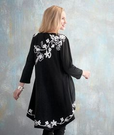 Embroidered Open Front Cardigans