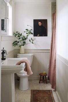 Downstairs Bathroom, Bathroom Renos, Washroom, Beadboard In Bathroom, Beadboard Wainscoting, Small Bathroom, Home Interior, Bathroom Interior, Baños Shabby Chic