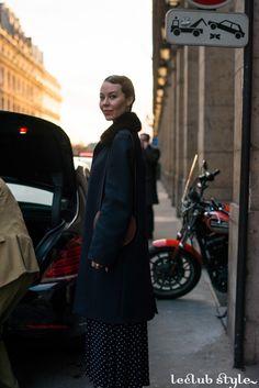 Womenswear Street Style by Ángel Robles. Fashion Photography from Paris Fashion Week. Classic lady like, Ulyana Sergeenko on the street, Rue de Castiglione, Paris.