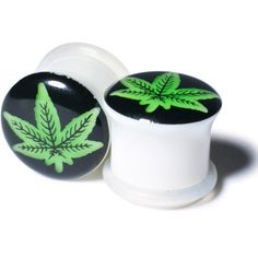 Weed Gauged Plugs (4.73 CAD) ❤ liked on Polyvore featuring piercings