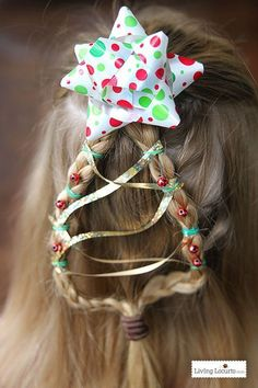 Christmas Tree Braid Tutorial. Easy Hairstyle for Girls! Get directions on this fun holiday hair for kids at LivingLocurto.com.