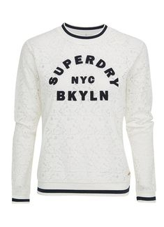 Superdry Top Lace Tipped Nyc, Lace Tops, Graphic Sweatshirt, T Shirt, Sweatshirts, Long Sleeve, Sleeves, Sweaters, Sweater