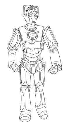this is a line art drawing of a doctor who cyberman as seen in the 2006 david tennant series episodes rise of the cybermenage of steel