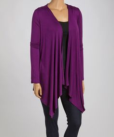 Loving this Purple Open Cardigan - Plus on #zulily! #zulilyfinds $22.67