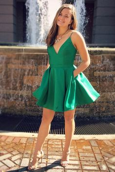 green homecoming dresses, spaghetti straps homecoming dresses, short homecoming dresses, fashion homecoming dresses