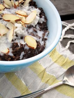 Almond Joy Oatmeal with no added sugar!