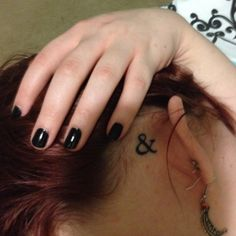 Finally got my ampersand! Behind ear tattoo, black line work, done by Colby Gillespie of University Ink.  I'm in love!