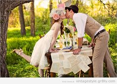 Vintage wedding couples