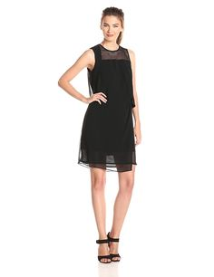 Ivy and Blu Women's Sleeveless Solid Draped Shift with Mesh Detail Dress >>> Special  product just for you. See it now! : cocktail dresses
