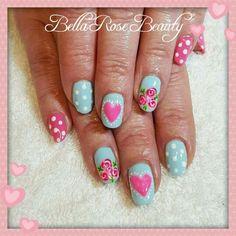 #nails #naildesign #nailart #hearts #roses #dots