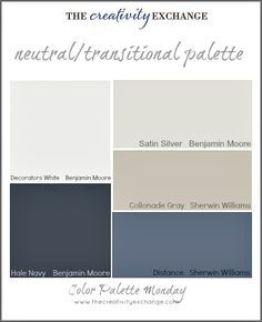 Color Palette Of Neutral Transitional Paint Colors Monday The Creativity Exchange