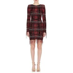 Balmain Women's Fringed Tweed Fitted Dress ($2,245) ❤ liked on Polyvore featuring dresses, pink, red fringe dress, tight long sleeve dress, red fitted dress, fringe dress and pink metallic dress