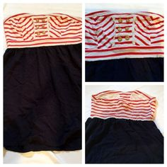 EUC RED WHITE NAVY XHILARATION DRESS SIZE MEDIUM Great EUC XHILARATION dress. Strapless. Size medium, runs bigger in the chest. Stretch. No stains, tears etc. lays just above the knee. Wore for 4th of July once & it's been in my closet since. Adorable dress. You can buy it for the listing price, or will include for free with any order of $20 or more. Grazie & please ask any questions. CLEARANCE Xhilaration Dresses Strapless