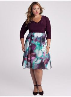 Plus Size Dress Plus Size Fashion Plus Size Clothing at www.curvaliciousclothes.com #plussize #bbw #fashion Make day-to-night dressing easy with enticing patterns  seductive silhouettes. This high waistband  A-line skirt with inverted pleats was created to skim and flatter the figure. We suggest cinching your waist with a belt or kick it up a notch and add some shine with our Tassel Belt in Pewter.