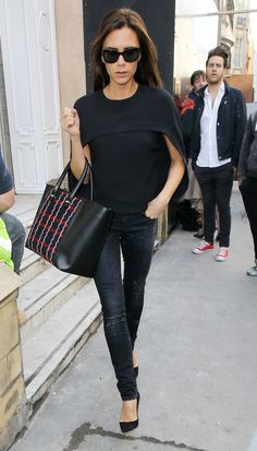 Victoria Beckham proves that a statement bag can make your whole outfit.