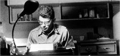 """Typing the manuscript of """"Howl"""" at Peter Orlovsky's house, 5 Turner Terrace, Potrero Hill, San Francisco, June 1955. Photograph by Peter Orlovsky.   """"Allen Ginsberg is . . . probably the single greatest influence on American poetical voice since Whitman."""" —Bob Dylan   Photo caption and blurb from """"Howl: Original draft facsimile, transcript, and variant versions . . ."""" (1995, 2006).     www.nytimes.com/2006/04/09/books/review/09marcus.html"""