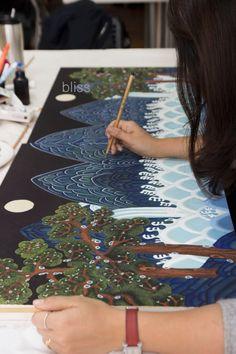 Korean Painting, Japanese Painting, Korean Art, Asian Art, Korea Design, Sketch Inspiration, Learn To Paint, Pictures To Draw, Folk Art