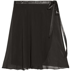 Ballet Beautiful Satin-trimmed chiffon wrap skirt ($65) ❤ liked on Polyvore featuring skirts, ballet, gown, black, chiffon skirt, chiffon wrap skirt, ballet beautiful, tie wrap skirt and ballerina skirt