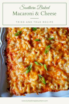 Southern Baked Macaroni And Cheese Recipe, Macaroni And Cheese Casserole, Baked Macaroni Cheese, Pasta Cheese, Macaroni Pasta, Mac And Cheese, Casserole Recipes, Pasta Recipes, Side Dish Recipes