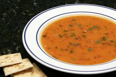 This tomato soup uses garden-fresh tomatoes, rice, and onions. The recipe is an absolute cinch to fix and cook.