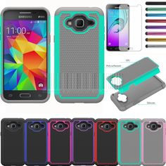 Dual Layer Rubber Impact Armor Hard Rugged Hybrid Case For Samsung Galaxy Amp Prime Cover With Films+Stylus