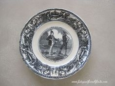 J. Vieillard et Cie Bordeaux 19th Century Humorous Plate Fishing Theme Antique French Transfer Printed Plate No 12 www.fatiguedfrenchfinds.com