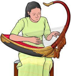 サウン・ガウ saung gauk。ビルマの竪琴。サウン・ガウを演奏する女性。