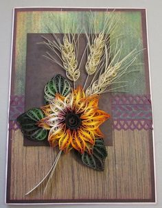 Shaded, quilled Sunflower and Wheat stalks - by: Heidi