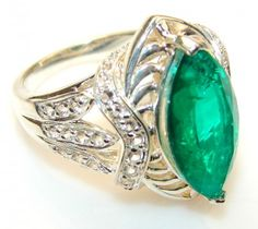 Luxury Chrome Diopside Quartz Sterling Silver ring s. 8 1/2
