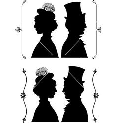 vintage silhouettes | Vintage cameo silhouette vector art - Download Cameo vectors Man And Woman Silhouette, Couple Silhouette, Vintage Silhouette, Silhouette Vector, Silhouette Cameo, Vector Art, Pattern Design, Portrait, Silhouettes