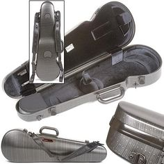 Bam Contoured Hightech 4/4 Violin case, Black Lazure at Johnson String Instrument