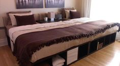 An OVERSIZE BED! Oversize bed is made up of three side by side twin mattresses.