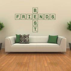 Best Friends Wall Sticker Scrabble Tiles Art Tile Mural Decals
