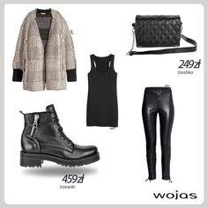 Motocyklowe obuwie, to obowiązkowy element jesiennej garderoby! Czarne trzewiki Wojas zdobione srebrnym zamkiem (4619-51) http://wojas.pl/produkt/15763 doskonale sprawdzą się w połączeniu z szerokim kardiganem, czarnym topem i skórzanymi spodniami. Całość uzupełnia pikowana torebka Wojas (4916-51) http://wojas.pl/produkt/16348 .