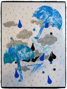 Un temps toujours mitigé par chez nous, entre soleil, vent, pluie, nuages… il fait plutôt doux c'est le principal ! Il y a quelques jours je vous présentais les parapluies en empreintes, avec le reste des parapluies nous avons réalisé un nouveau chef-d'oeuvre ! Le matériel nécessaire 1 feuille de papier avec des nuages et pluie des parapluies découpés dans des peintures d'enfants (ou du papier fantaisie) des gommettes de la colle Le déroulement de l'activité Sur un fond de nuages et de pluie… Fall Crafts, Crafts For Kids, Rainbow Cloud, Mary Poppins, Too Cool For School, Art Plastique, Art Lessons, Moose Art, Mandala