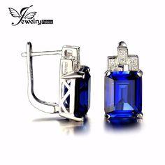 Jewelrypalace 11ct 럭셔리 오션 블루 사파이어 클립 귀걸이 925 스털링 실버 귀걸이 고급 보석 패션 보석