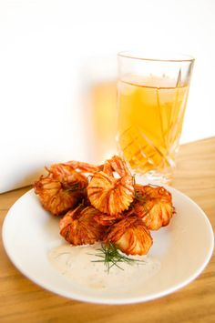 Shoestring Potato Shrimp Bites with a cold glass of ice tea is a perfect appy for the summertime!