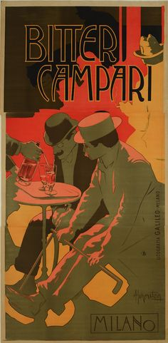 Some of Italy's foremost designers have made work for Campari, creating everything from hand-painted belle epoque posters to surprisingly surreal images of bright red bottles with legs. The Art of Campari exhibition celebrates the brand's visual heritage. Poster Ads, Advertising Poster, Poster Prints, Product Advertising, Beer Poster, Food Advertising, Creative Advertising, Print Ads, Vintage Italian Posters